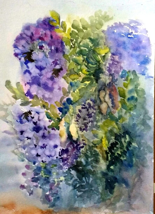 Buzzing in the Mountain Laurel #1_Rachel_murphree_Watercolor